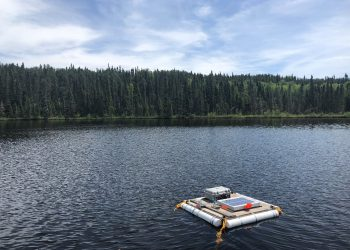 Floating platform on a clear blue lake with trees
