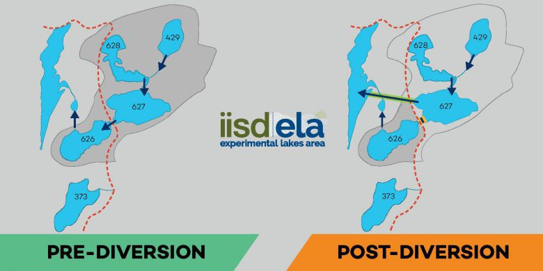 Image showing lake diversion project before and after.