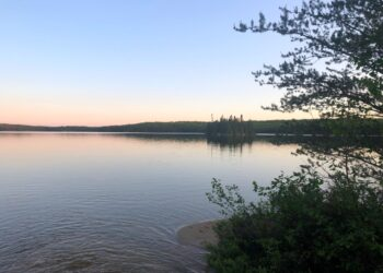 Sunset over Lake 240 at IISD Experimental Lakes Area