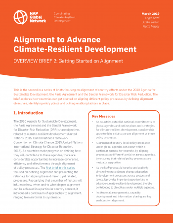 Alignment to Advance Climate-Resilient Development: Overview Brief 2 Getting Started on Alignment