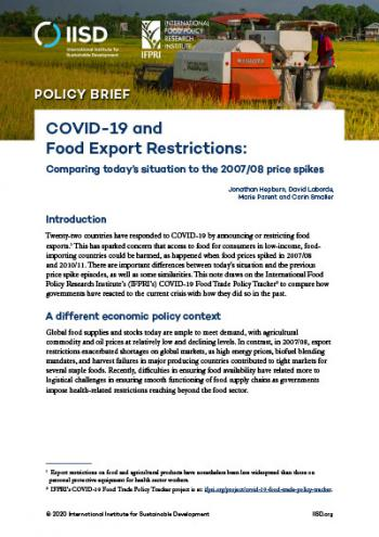 COVID-19 and Food Export Restrictions: Comparing today's situation to the 2007/08 price spikes