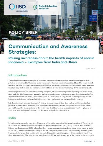 Communications and Awareness Strategies: Raising awareness about the health impacts of coal in Indonesia - Examples from India and China