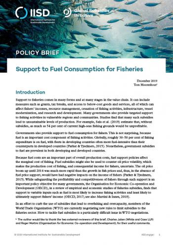 Support to Fuel Consumption for Fisheries